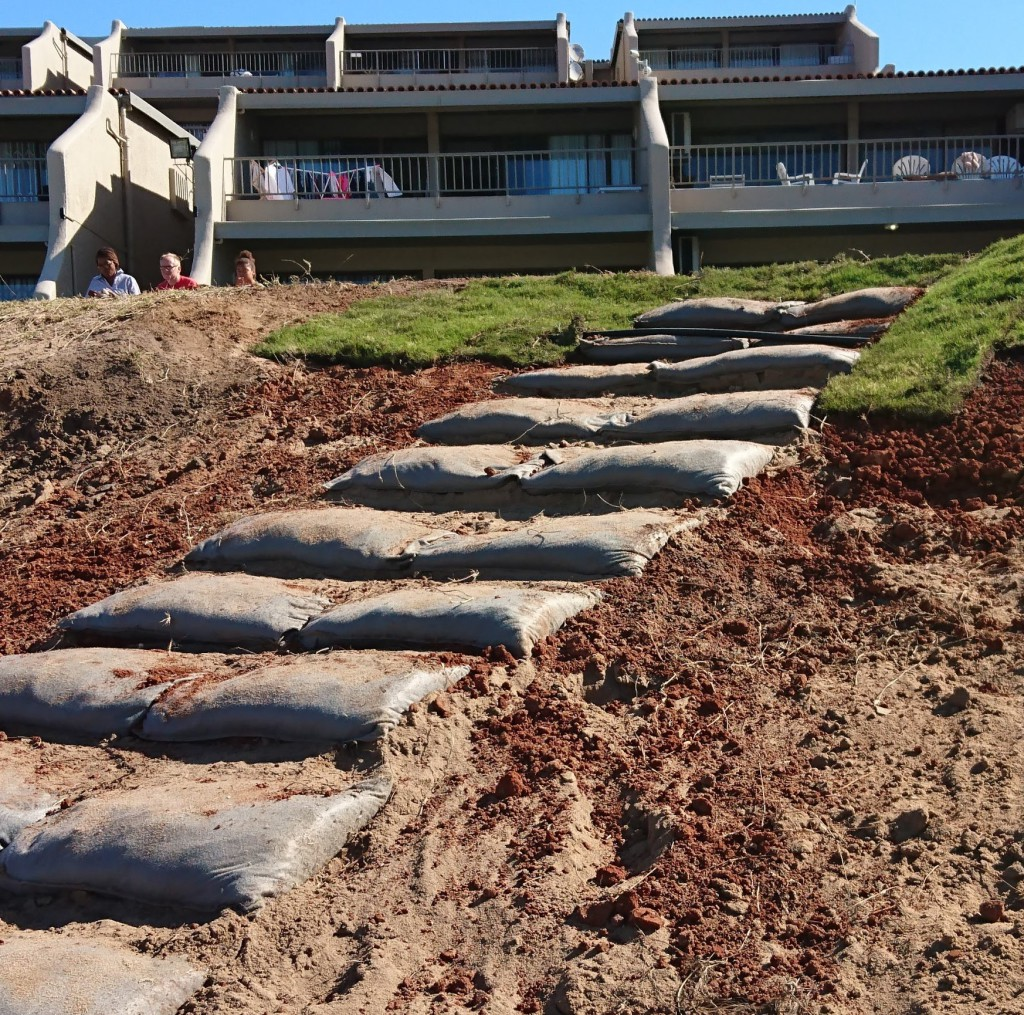 Steps being installed at Willards Beach infront of BeachCombers