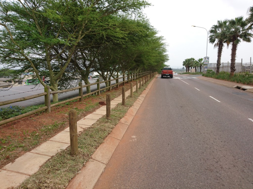 Grass planted along Douglas Crewe and Stewarts drive, where the bollards have been installed.
