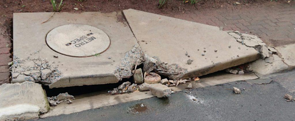 Broken stormwater drain