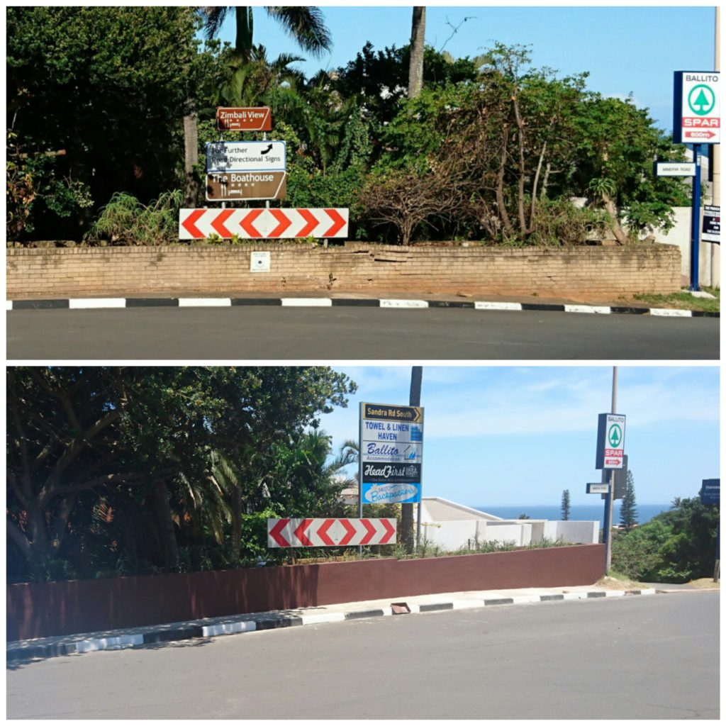 Before and after pictures of the wall