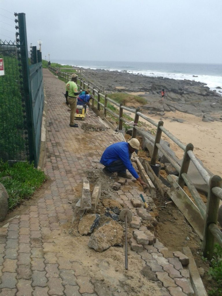 Contractors repairing the Ballito boardwalk