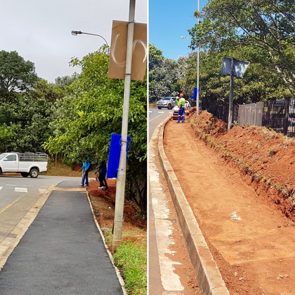 Before and after image of tarred pavements around tourism centre in Ballito
